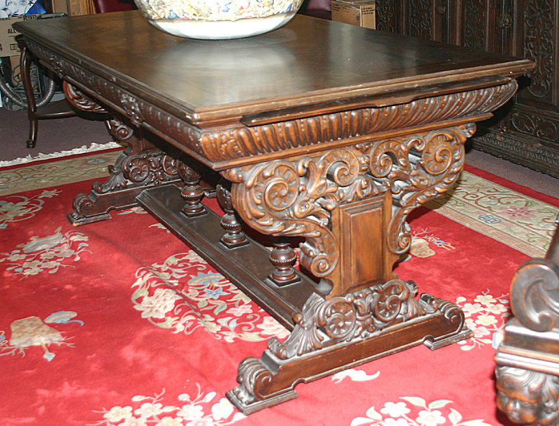 antique cedar library table