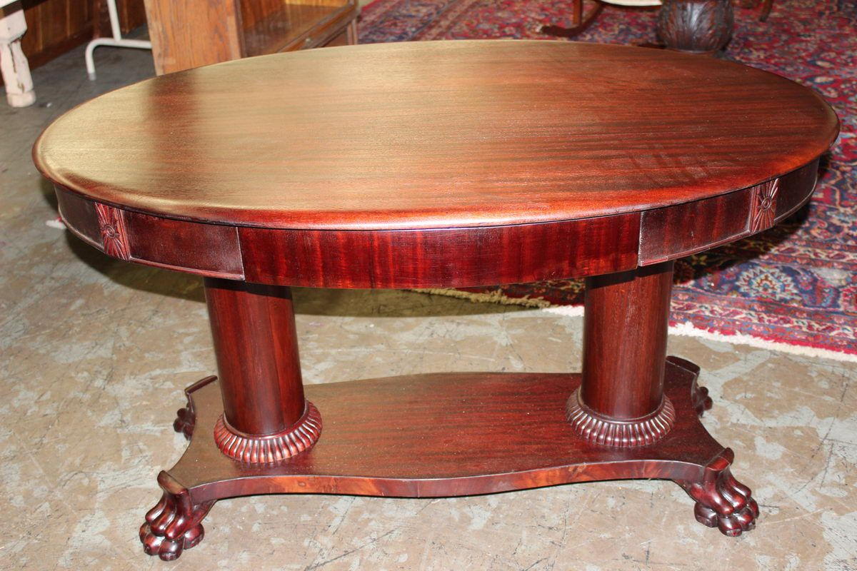 antique oak library table with claw feet