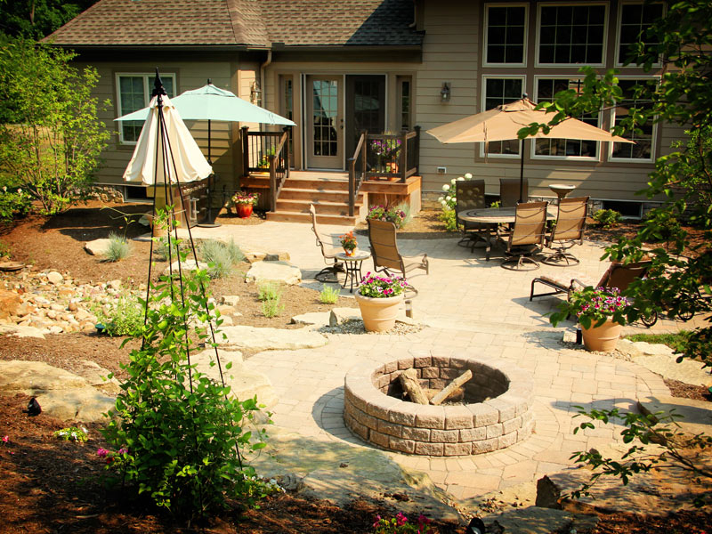 Image of: backyard designs with fire pits