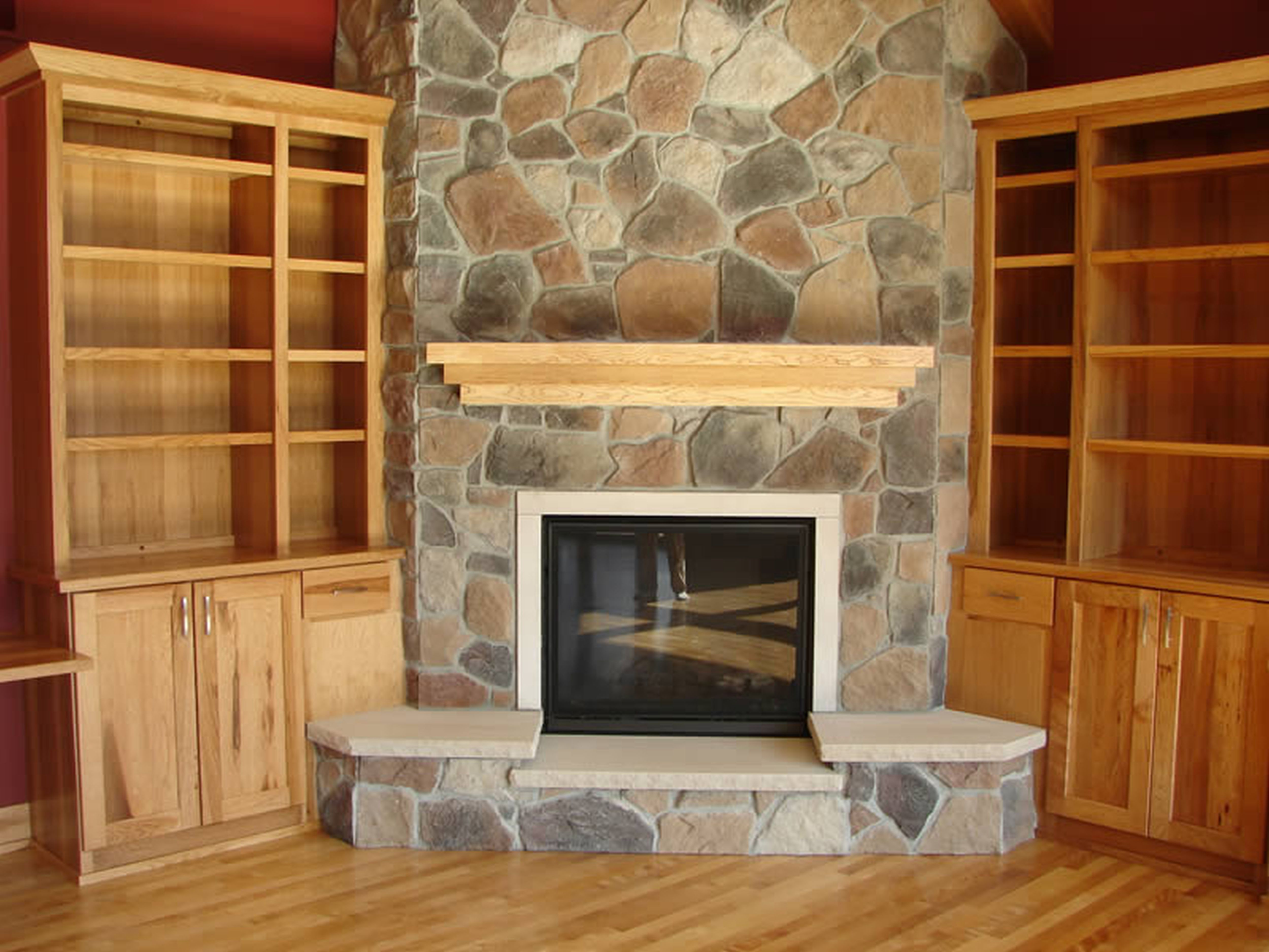 Image of: corner stone fireplace designs