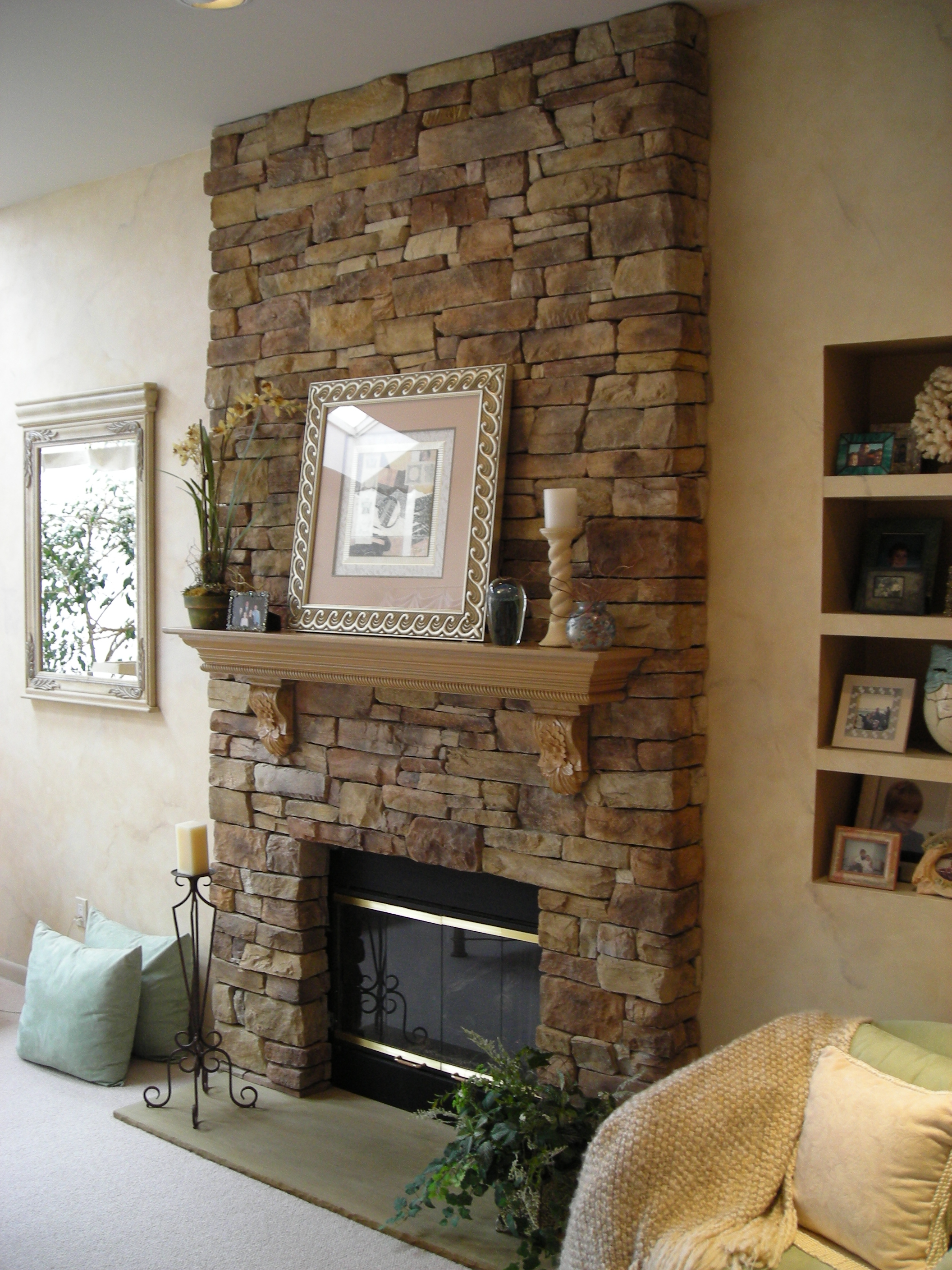 Image of: fireplace designs with stone