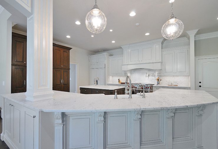 Image of: honed marble kitchen countertops