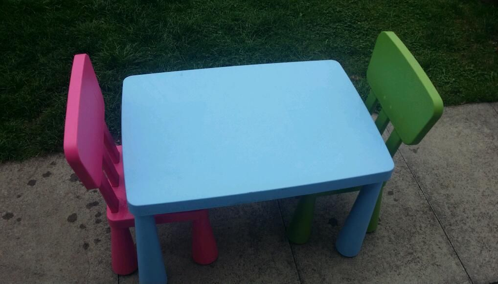 Image of: ikea childrens blue table and chairs