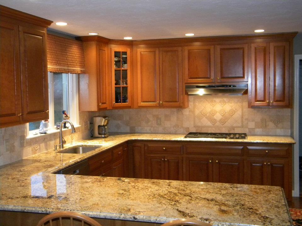 kitchen marble countertops and backsplash