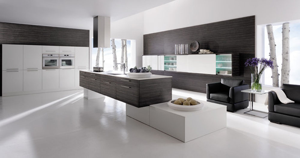Image of: modern kitchens black and white