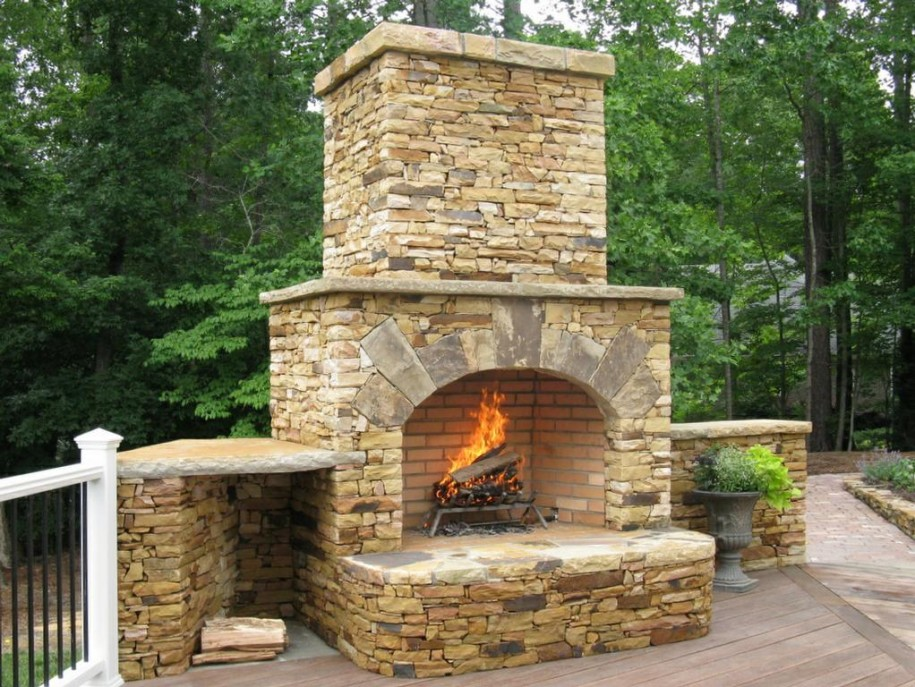 Image of: outdoor stone fireplace design