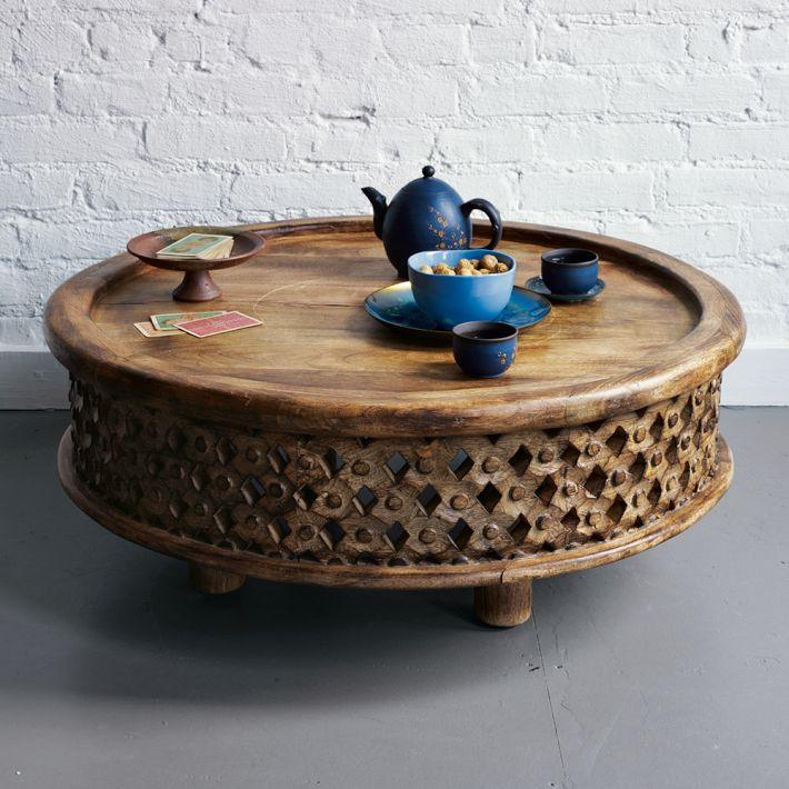 Image of: oversized leather ottoman coffee table