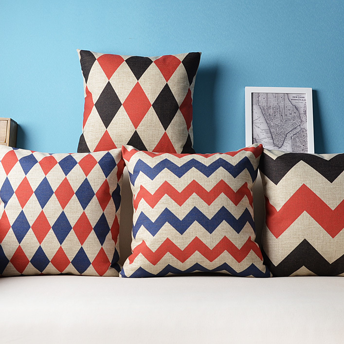 Image of: red and blue decorative pillows