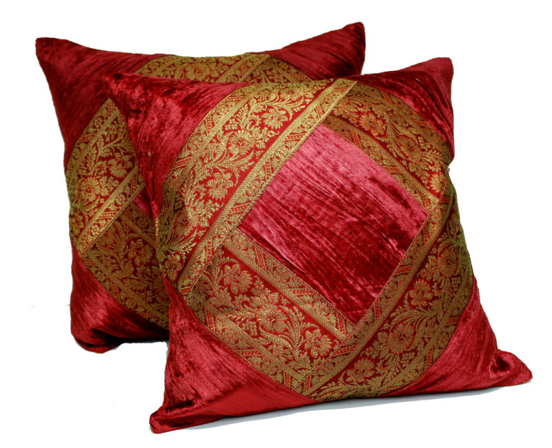 Image of: red gold decorative pillows