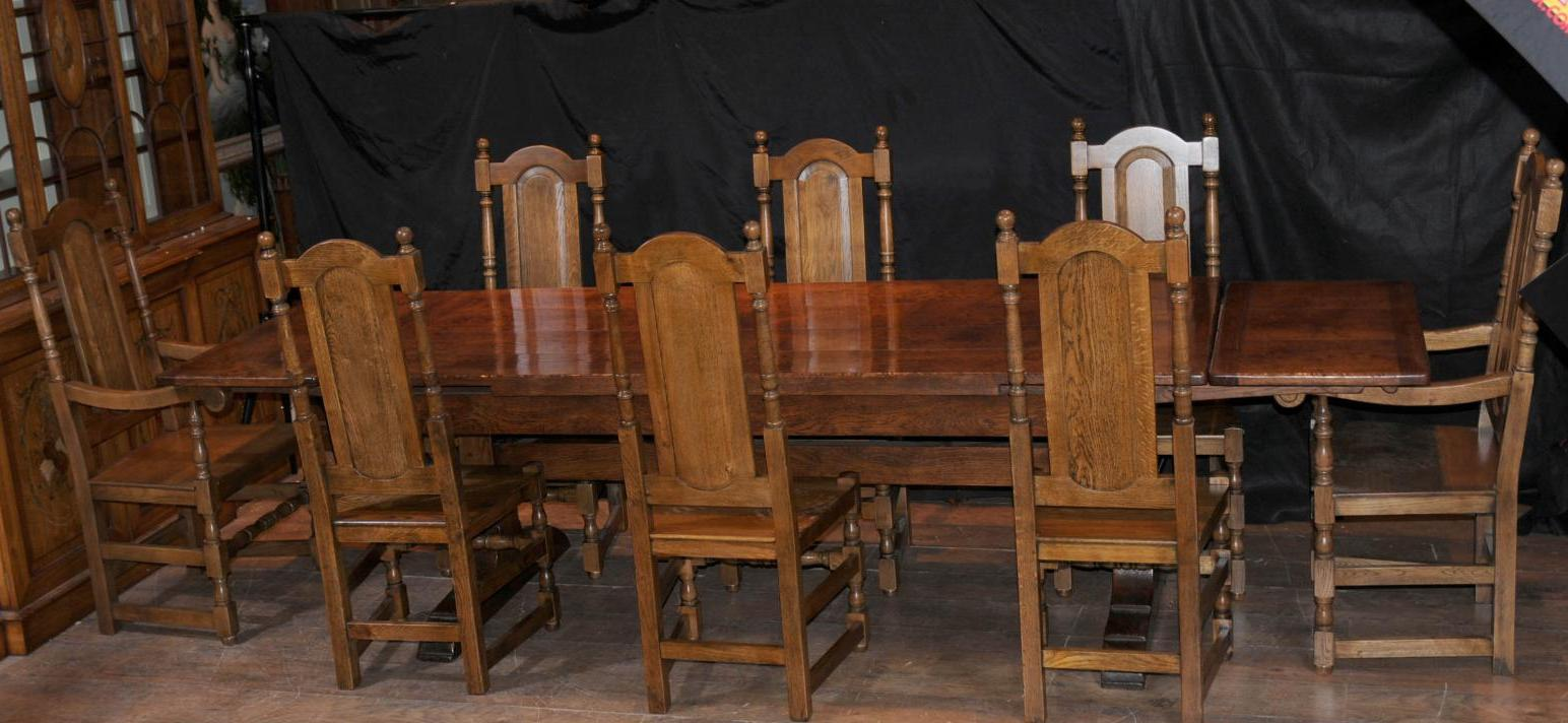 refectory table and 8 chairs