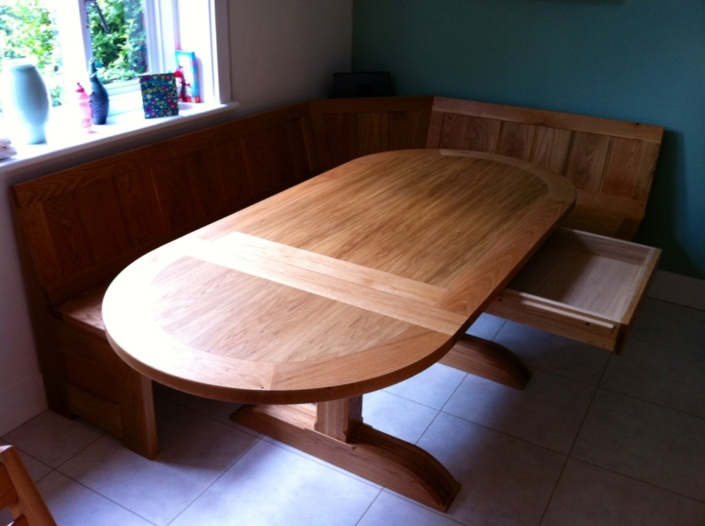 refectory table and bench seats