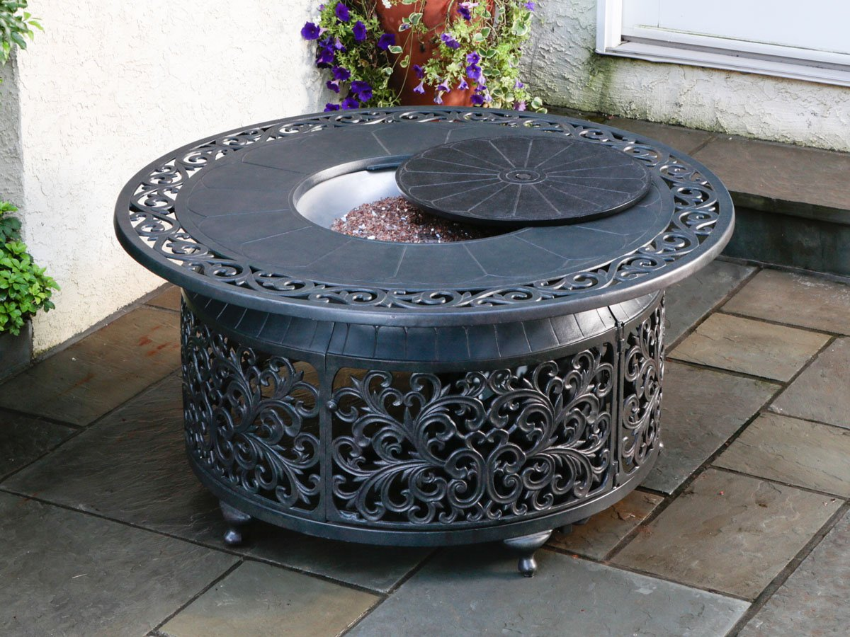 Image of: round gas fire pit table