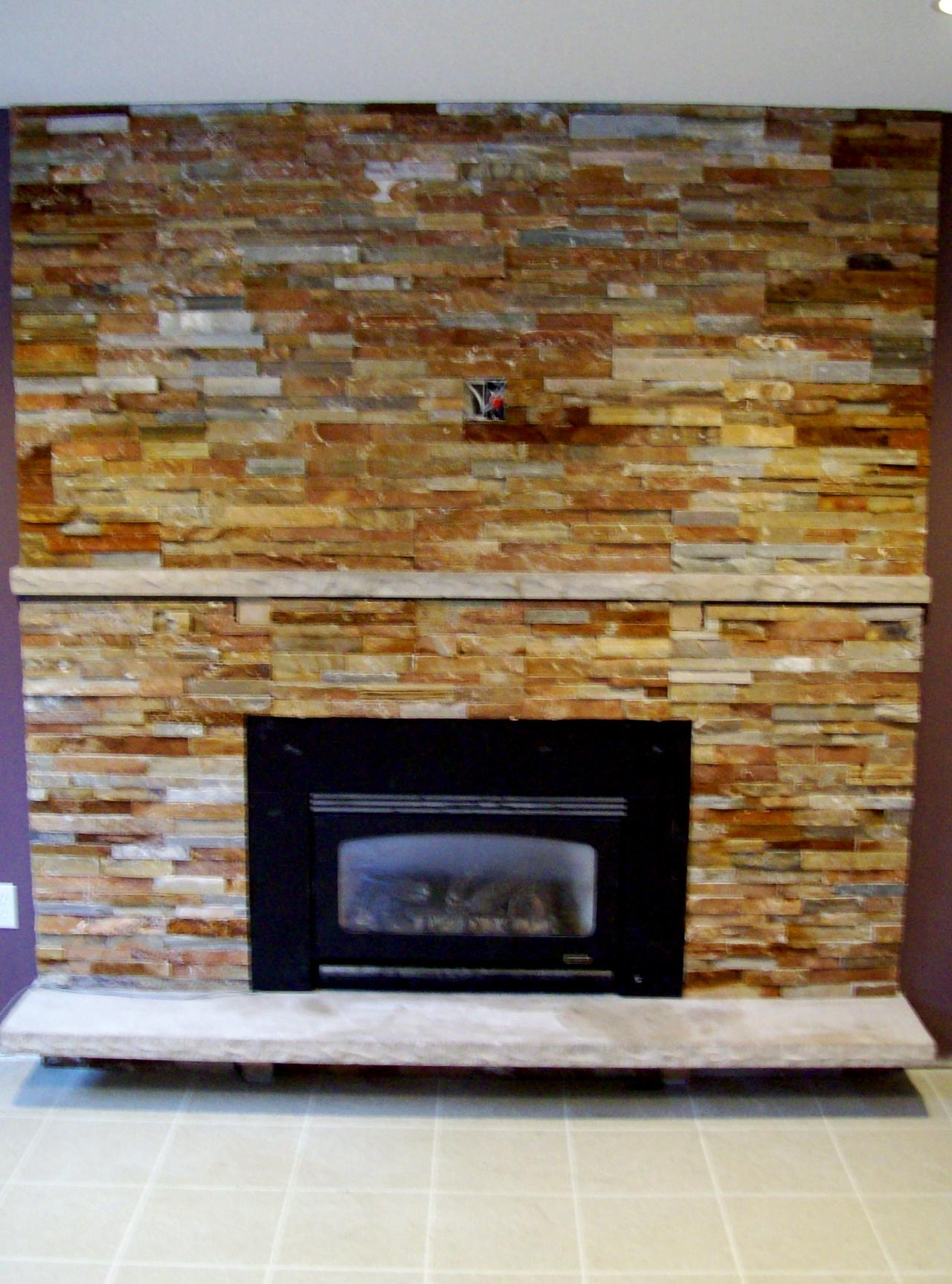 Image of: stacked stone fireplace designs
