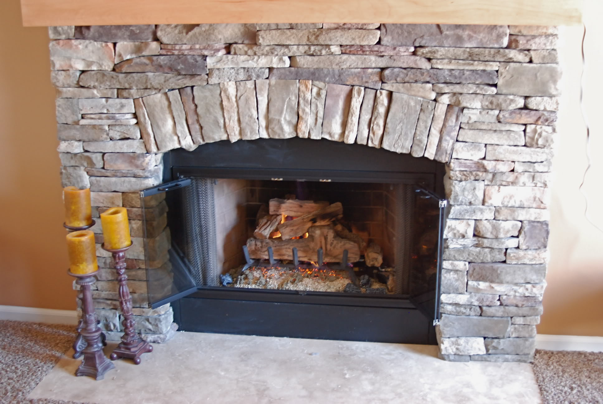 Image of: stone fireplace design ideas