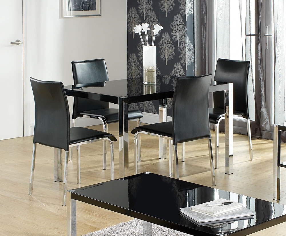 Image of: tall black kitchen table and chairs