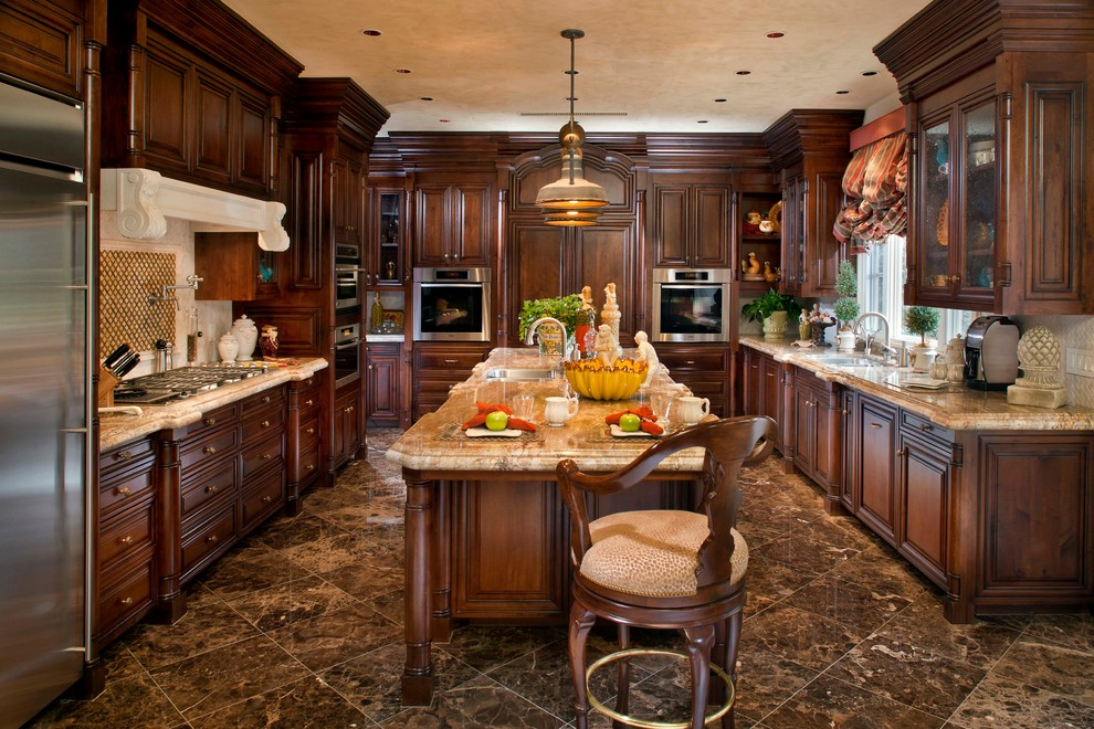 Image of: traditional kitchen granite edge