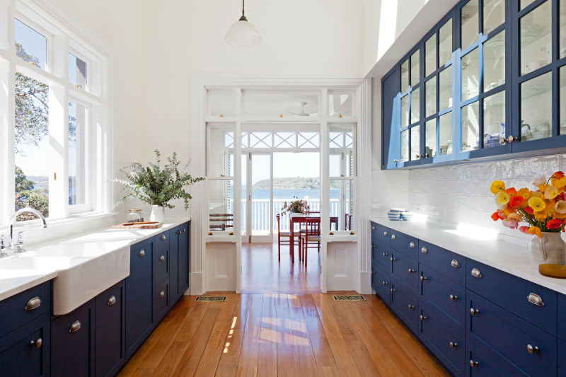 Image of: white blue kitchens