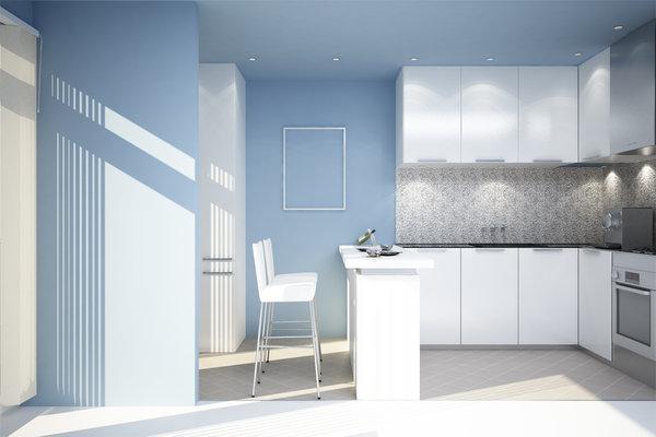 white kitchens blue walls