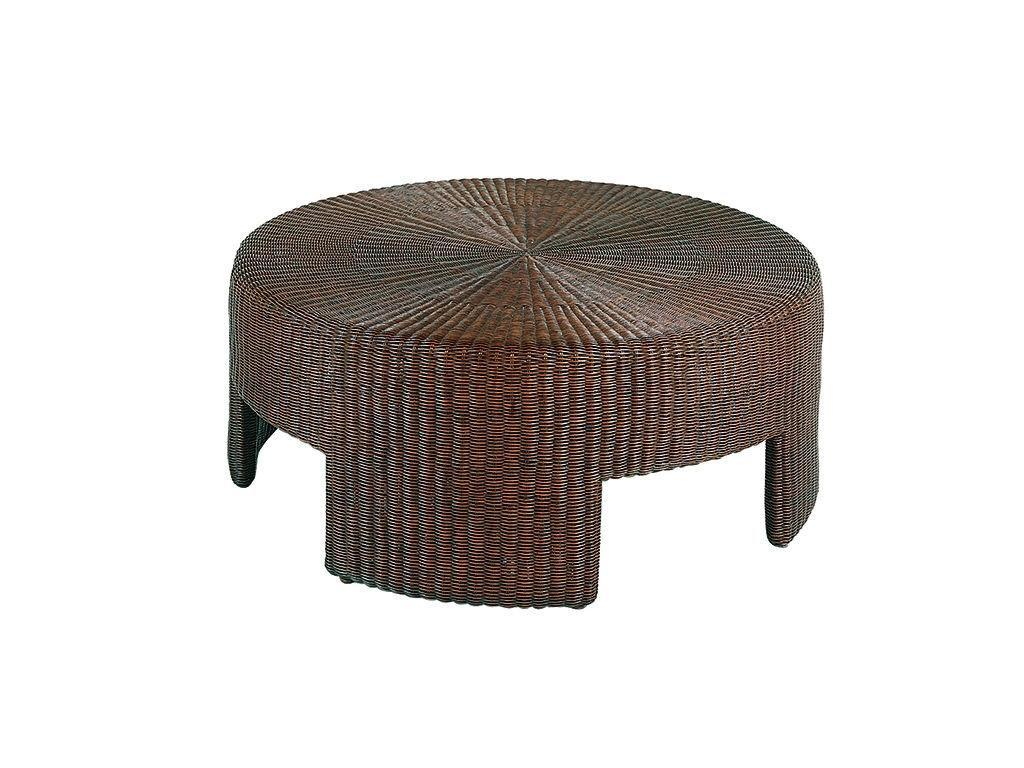 Image of: Rattan Coffee Table Ottoman