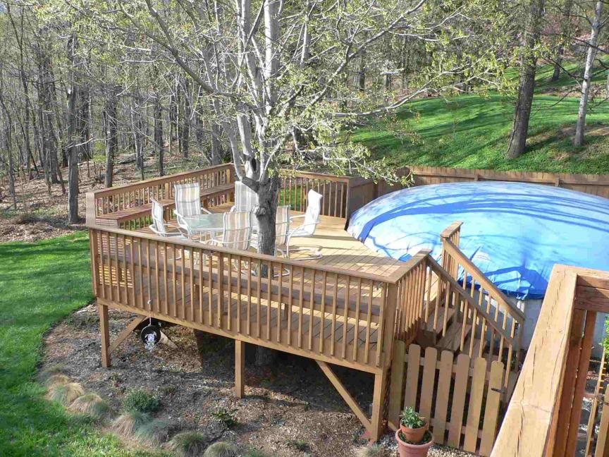 Image of: above ground pool deck design ideas