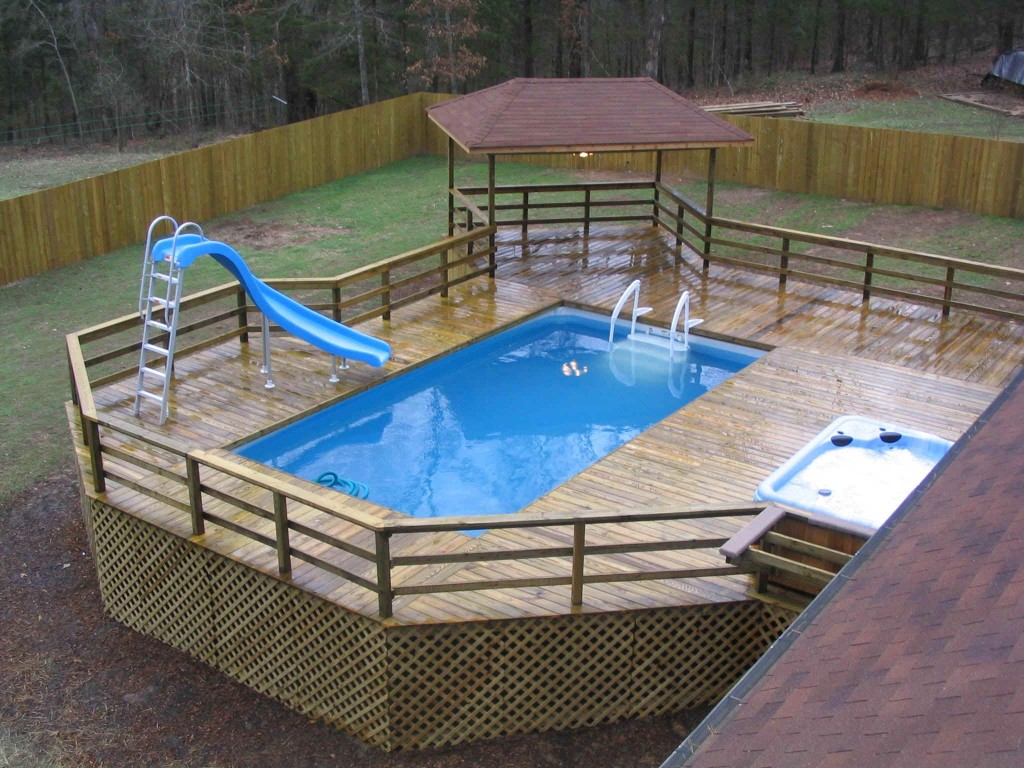 Image of: above ground pool deck design