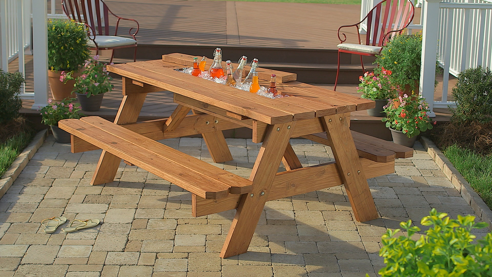 Image of: home depot picnic table and benches