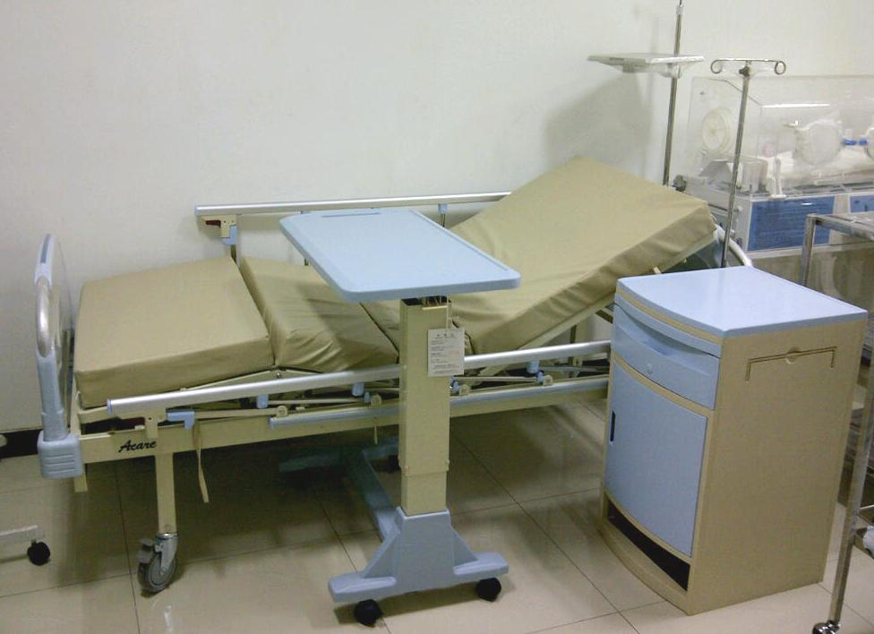 Image of: hospital overbed table with drawer