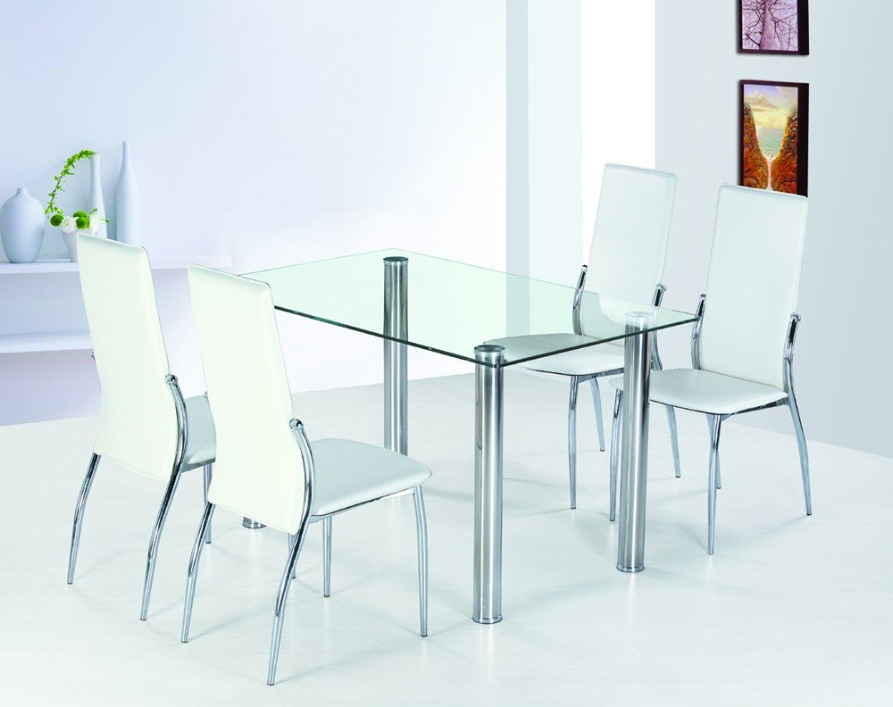 Image of: rectangle glass dining room table