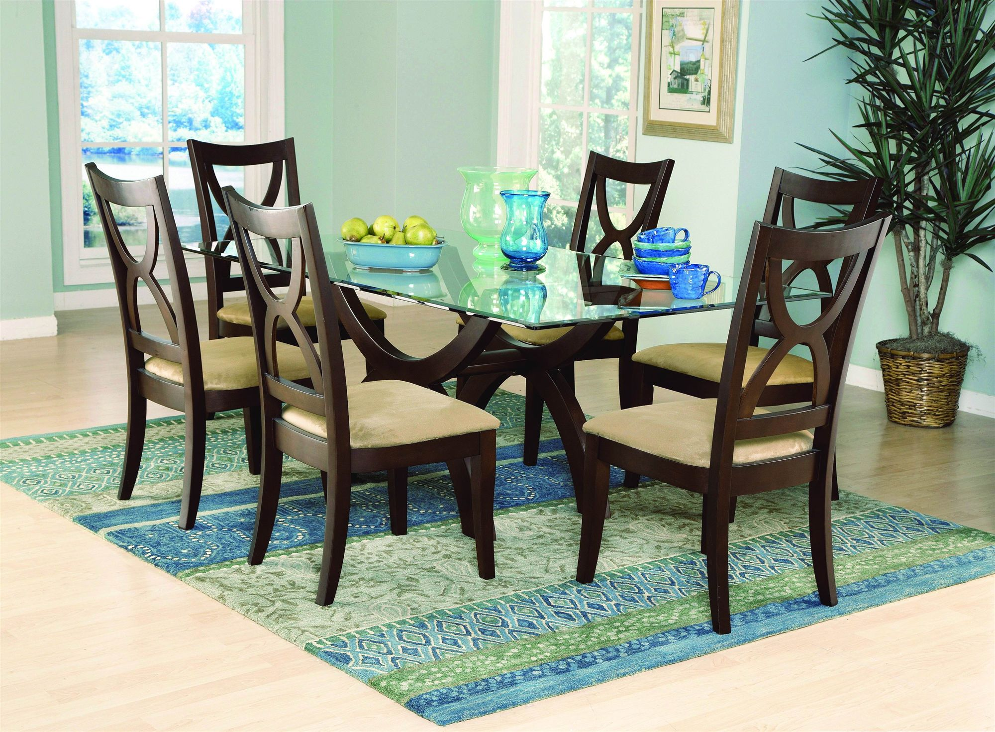 rectangle glass dining table set