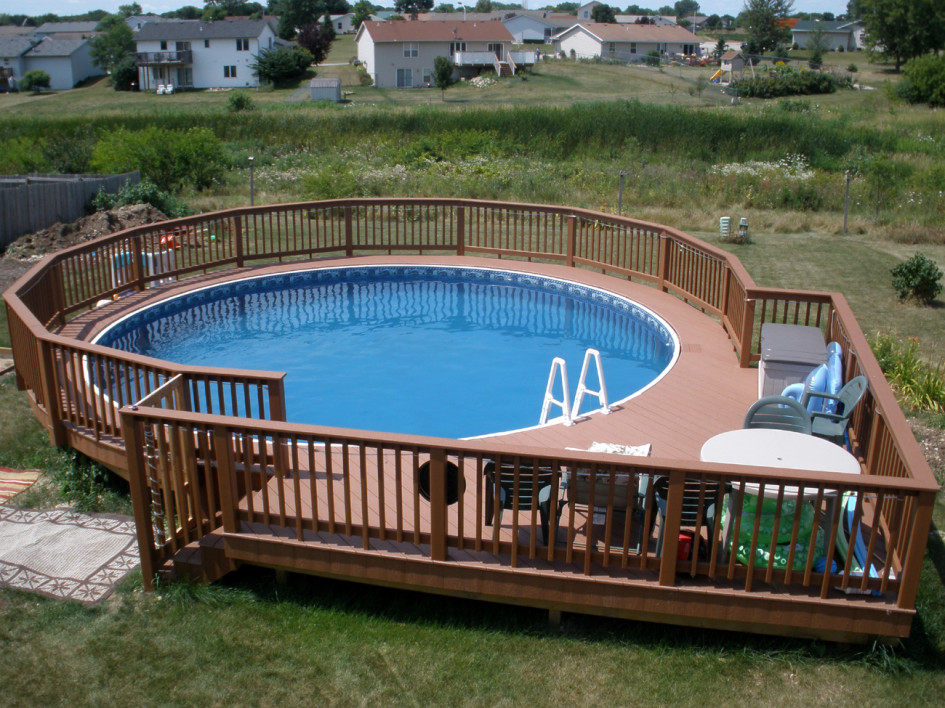 Image of: round pool deck designs