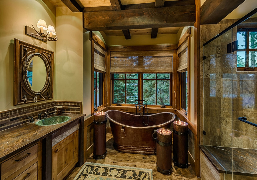 Image of: rustic cabin bathroom decor