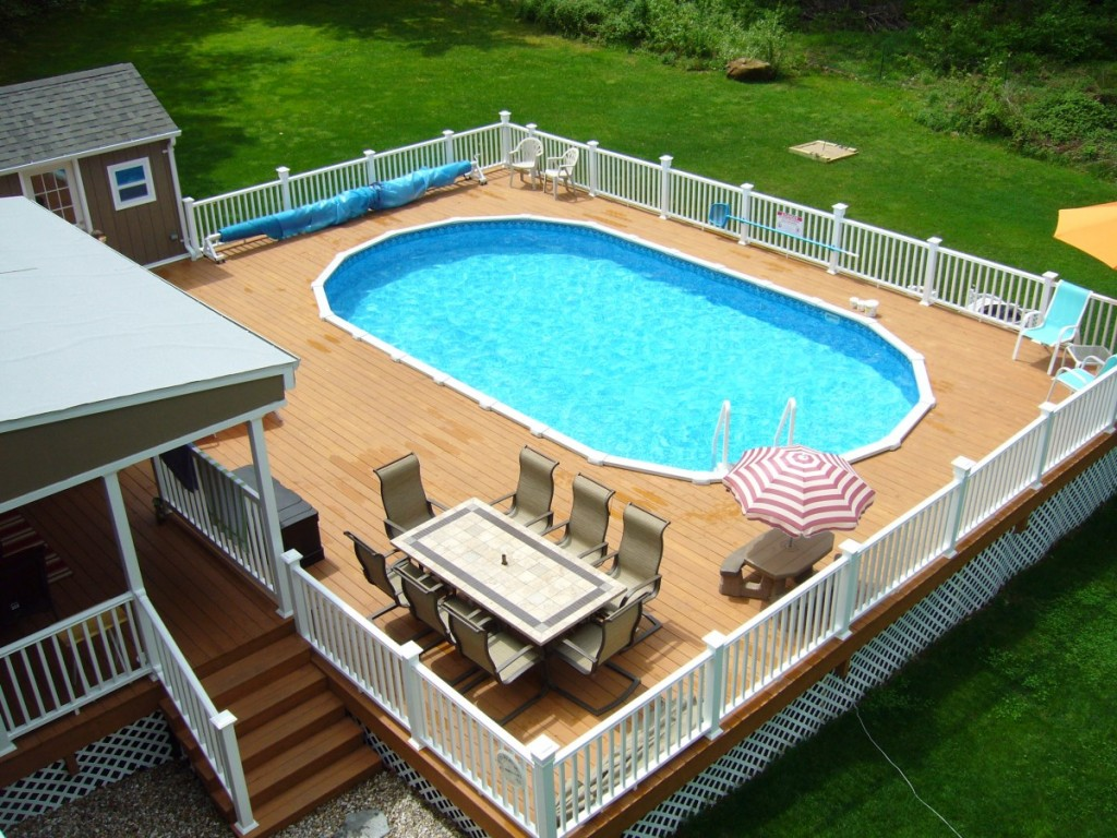 Image of: swimming pool decks above ground designs