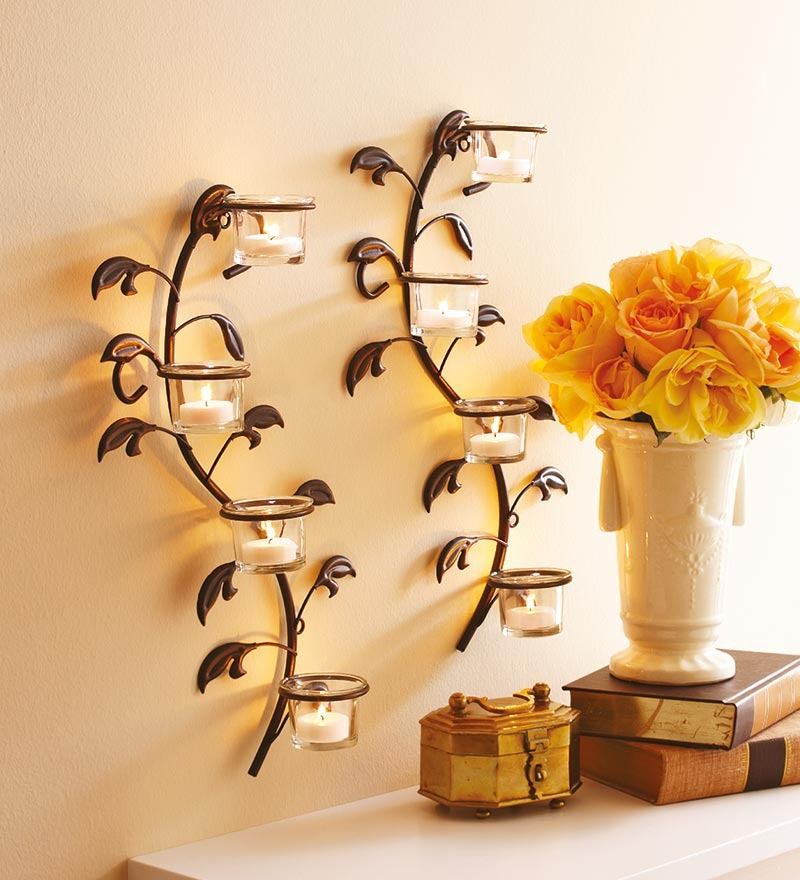 Image of: wall decor candle holders