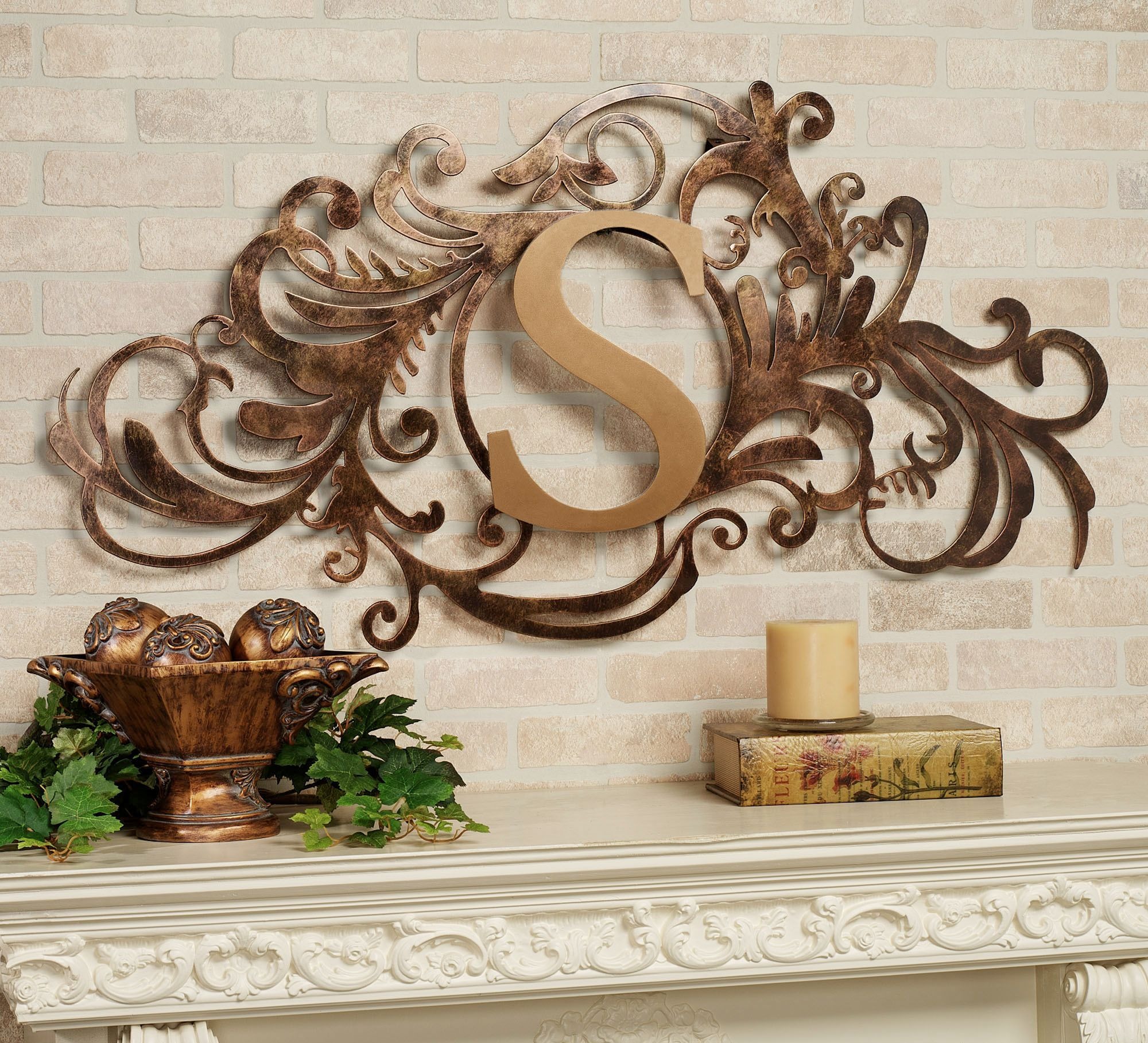 wrought iron monogram wall decor