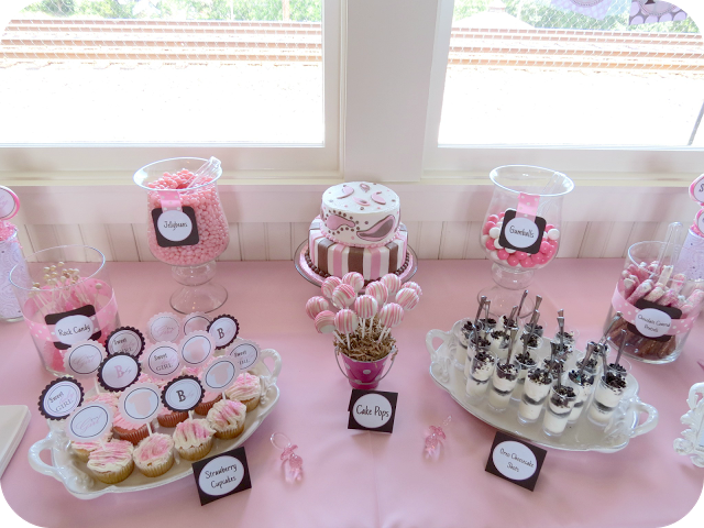baby shower dessert table pink