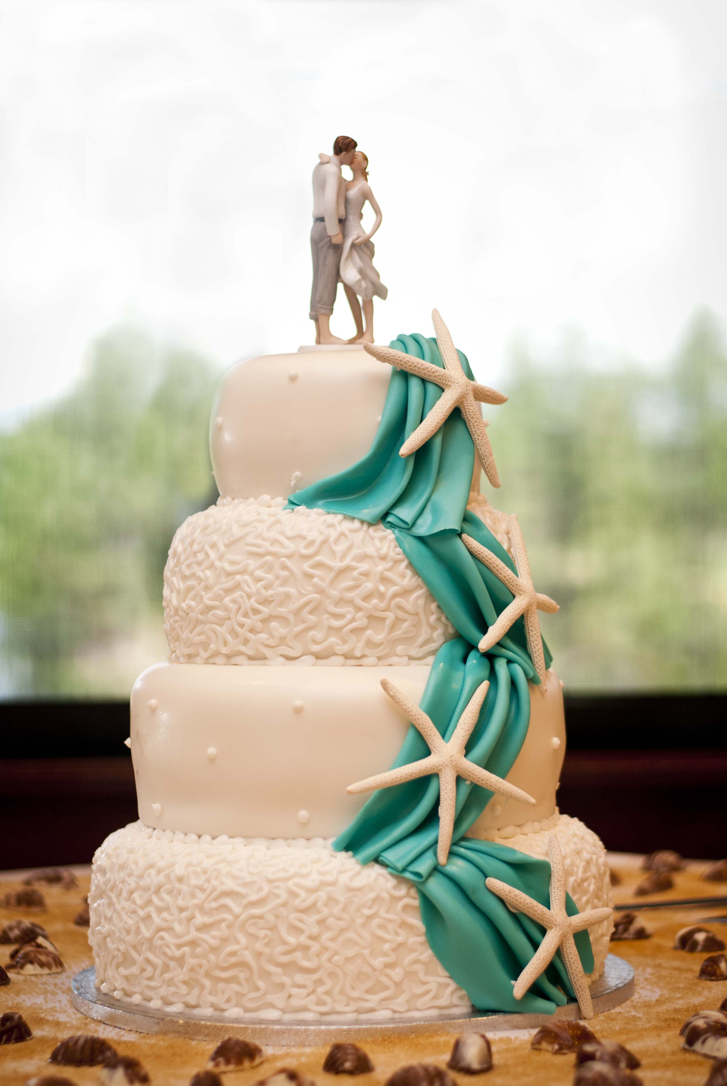Image of: beach wedding cake decorations