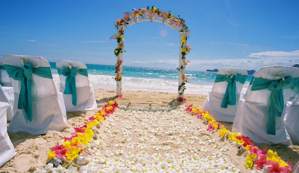 Image of: beach wedding decorations
