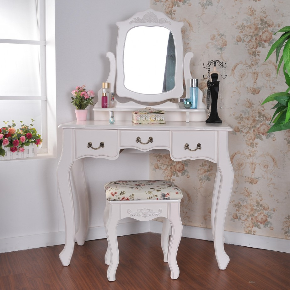 Image of: corner vanity table set