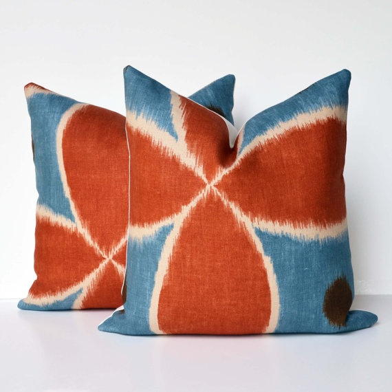 decorative pillows orange and blue