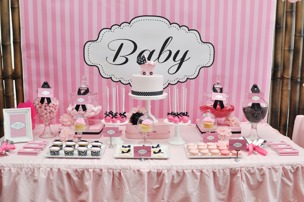 dessert table at baby shower