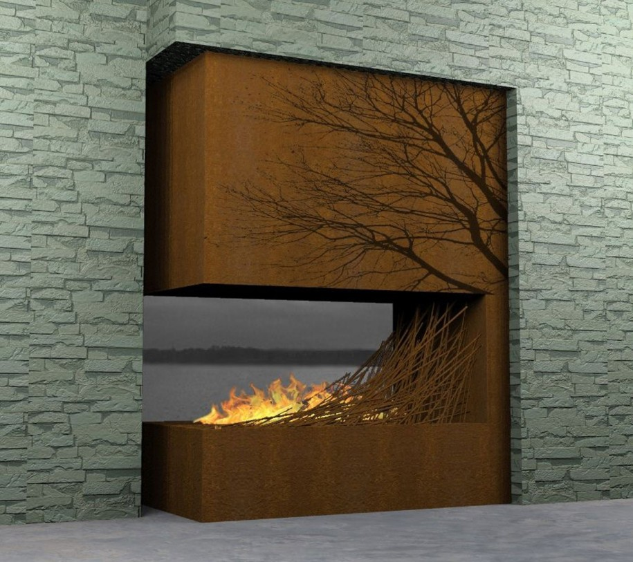 Image of: fireplace design ideas with wood