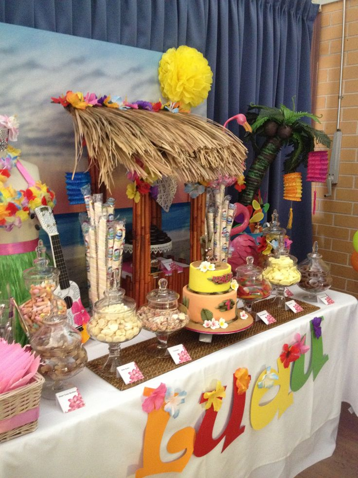 Image of: kids luau party decorations
