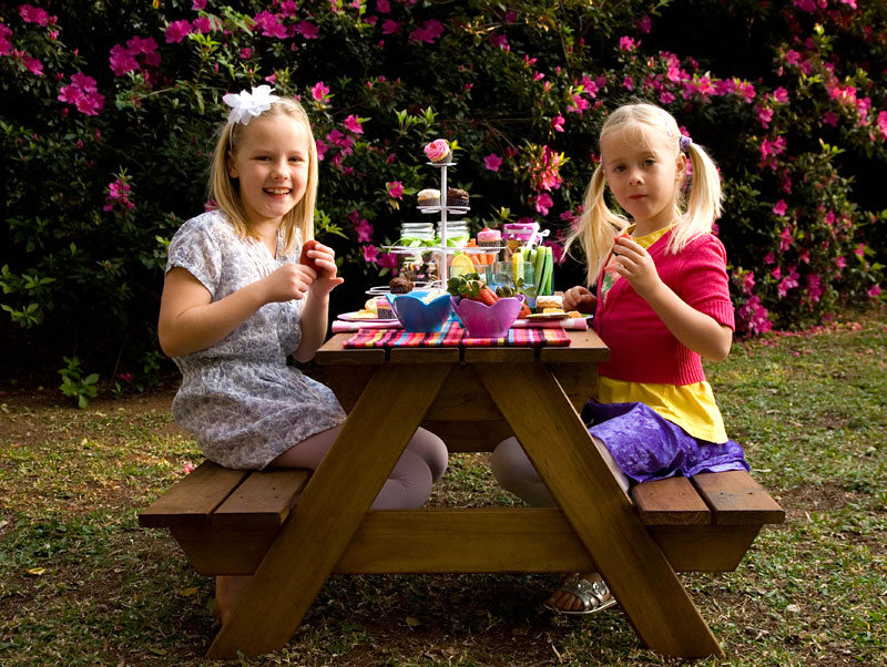 Image of: kids wood picnic table