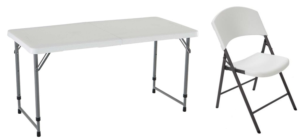 Image of: lifetime 4-foot adjustable height folding table