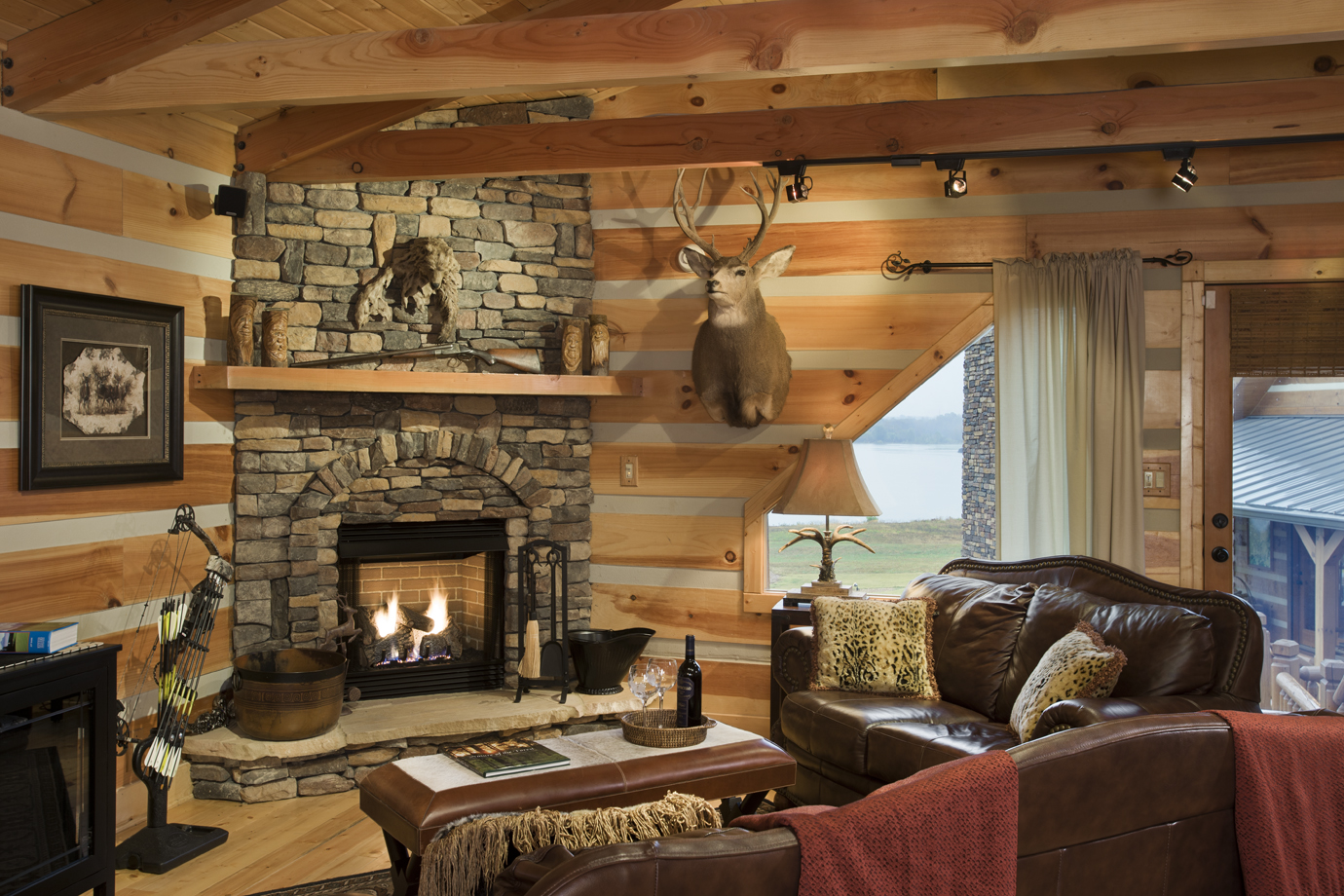 Image of: log cabin decorating