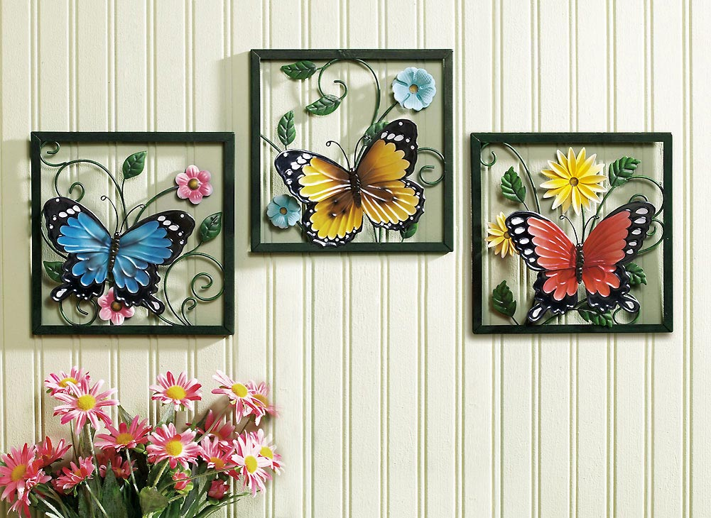 Image of: metal butterflies wall decor