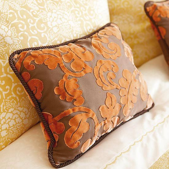 Image of: orange and brown decorative pillows