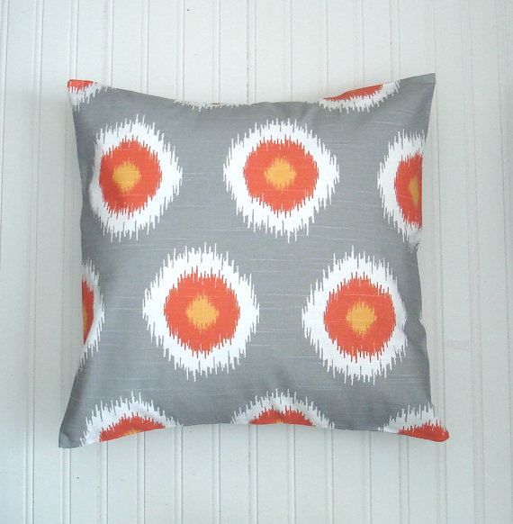 Image of: orange and grey decorative pillows