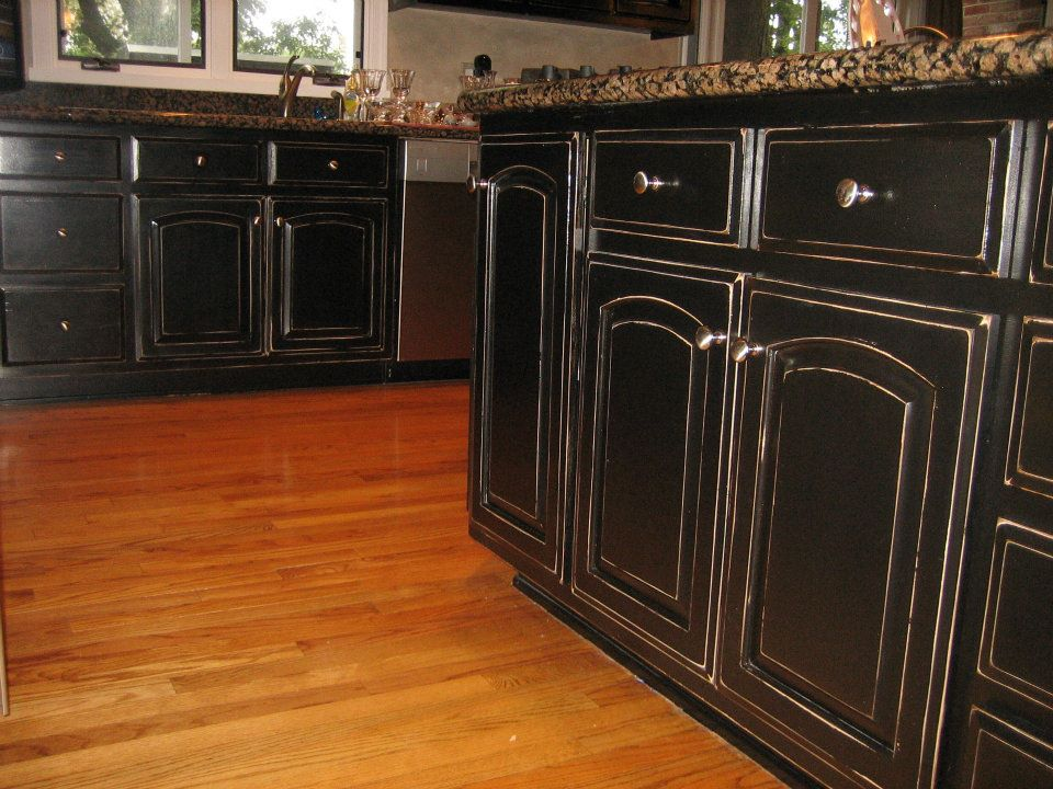 Image of: painting kitchen cabinets black distressed