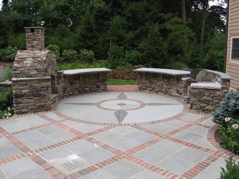 Image of: stone and brick patio designs